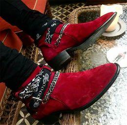 Spitze stiefel marken für männer online-Runway Brand Schuhe für Männer wies Wildleder Lederstiefel Blumendrucke Schnalle Gürtel Ketten Stiefeletten Cowboy 2019