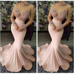 blush beaded bridesmaids dress Coupons - 2019 Blush Pink Lace Beaded Sexy Evening Dresses High Neck Long Sleeves Prom Dresses Elastic Satin Formal Party Bridesmaid Pageant Gowns