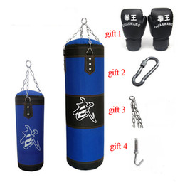 punch boxing gloves Coupons - 60 80 100 120cm Blue Giant Sandbag Thickened Canvas Punching Bag Sports Training Hook Hanging Kick Empty Boxing Bags with Gloves
