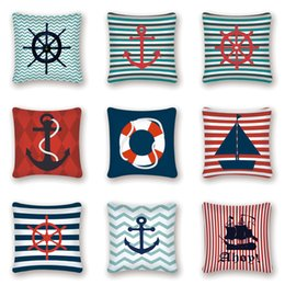 Canada Couvre-coussin décoratif nautique couvre la couverture d'ancre marine décor mer océan bleu taie d'oreiller canapé oreillers Kissen Accueil Canapé-lit cheap navy blue decor Offre