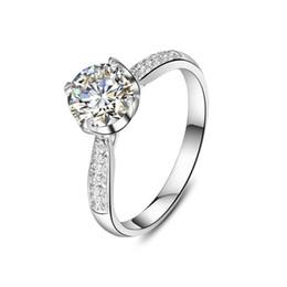 Nscd synthetische diamantringe online-Brilliant Sterling Silber Mirco Insert 1CT NSCD Synthetische Diamant Frauen Ring Perfekte Einladung Schmuck Geschenk Für Dame
