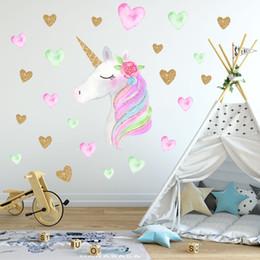 2020 наклейки для стен для спальни Новый 36 * 60 см единорог стикер стены дети детские животные мультфильм ПВХ рога единорога домашнего декора наклейки на стены наклейка детская спальня украшения дешево наклейки для стен для спальни