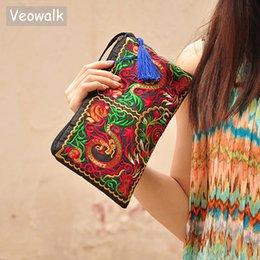 chinese bordado bolsas Desconto Veowalk Chinês Dragão Bordado Mulheres Saco de Embreagem de Lona Macia, Handmade Retro Senhoras Zip Up de Algodão Bordado Bolsa de Pulso