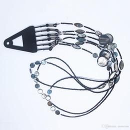 Sonnenbrille seil online-Frauen Art und Weise Shell-Korn-Kette Schwarze Perlen Sonnenbrille Ketten-Halskette Lesebrille Schnur-Halter-Ansatz-Bügel-Seil für Brillen