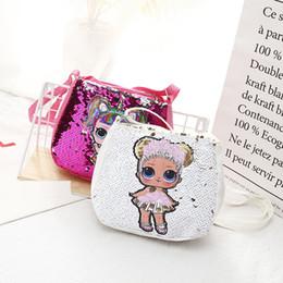 Bolsa de juguete de muñeca online-Lentejuelas Niños Juguetes de diseño bolsos lol muñecas hangbag 20 * 18 cm niñas bolsas de almacenamiento de dibujos animados Mochilas bolsas de regalos de Navidad de bolsillo de salto B11