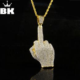 ciondolo dito medio Sconti Hip hop uomini color oro pieno di strass ciondoli dito medio grande collane con 6mm catena della catena della corda 30inch gioielli S625