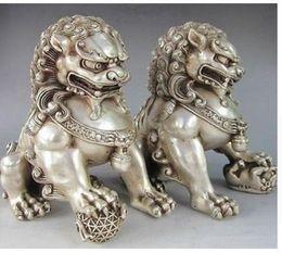 Löwe foo fu hund statue online-Handwerk Kupfer Bronze Messing Feng Shui Dekoration Statue 12 * 12 cm Chinese Silver Guardian Lion Foo Fu Hund Statue
