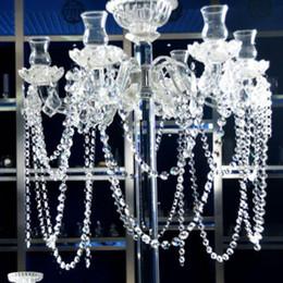 Prismas cristalinos araña online-180 cm de longitud cristalina clara araña de cristal 14 mm perlas octágono cadena araña prismas colgando guirnalda de la boda envío gratis