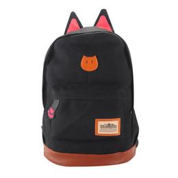 mochila oreja de gato Rebajas Mochila de lona Para Mujeres Niñas Satchel Mochilas escolares Mochila escolar Mochila de niños niños Oreja de gato de dibujos animados Mujeres Bolsas Negro