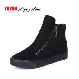 Zapato de invierno frío online-2019 Botas de Nieve de Invierno Zapatos de Invierno de Mujer Zip Cálido Felpa para Botas de Mujer de Moda Fría Señoras de Marca Tobillo Botas