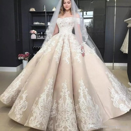puffy church dresses Coupons - Vintage Puffy Light Champagne Wedding Dresses Off The Shoulder Applique 2019 Off Shoulder Full length Church Garden Princess Wedding Gown