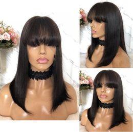 Parrucche cinesi nere online-Parrucca di celebrità Parrucca anteriore in pizzo Bang Parrucca diritta Naturale Colore 10A Grado Cinese Virgin Remy Parrucche piene di capelli umani per donne nere