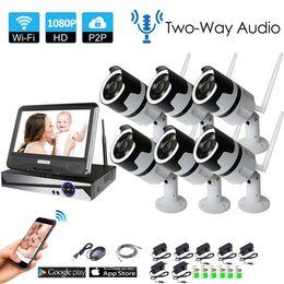 НОВЫЙ 6-канальный двусторонний аудиосигнал с ЖК-экраном Беспроводная система видеонаблюдения NVR Kit P2P 1080P Крытый ИК ночного видения 2.0MP IP-камера WIFI от