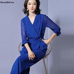 610ccfafca05 Fashion Elegant Plain Jumpsuits For Women Clothing 2019 vestidos de fiesta Plus  Size Long Sleeve Big Bottom Pant Bandage Rompers