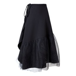 Senhoras tops saias longas preto on-line-Atacado 2019 Primavera Verão Malha Saia Preta Para As Mulheres Todos Os Partida Moda Longa Uma Linha Saia Senhora Saias de Algodão de Alta Qualidade ZA15096C