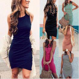 Узкие платья уличный стиль онлайн-Penwom женская весна и лето мода платье без рукавов шею узкие ну вечеринку юбка уличный стиль