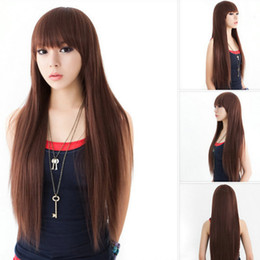 Novos penteados para cabelos longos on-line-Hairpiece travesti franja longo cabelo reto meninos e meninas cabelo longo conjunto de moda reparação de rosto penteado novo