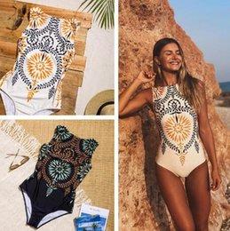 Populares trajes de baño de una pieza online-Nuevo traje de baño de una pieza de bikini estampado retro Traje de baño de una pieza femenino Bikini sexy de Europa y América 2 colores cómodos populares Europa y