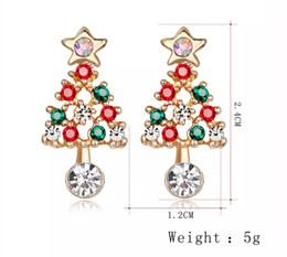 Árvores de natal baratas on-line-2019 presentes de Natal promocionais liga barata diamante brincos de árvore de Natal