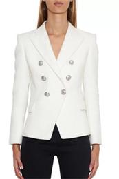 Costume classique noir blanc en Ligne-Designer de mode classique femmes Blazer noir blanc veste à double boutonnage femme revers col mince costume