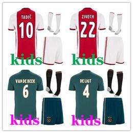 Kits de fútbol personalizados online-Camiseta jerseys conjunto niños local visitante personalizado 2019 2020 AJAX FC NERES TADIC DE LIGT ZIYECH fútbol