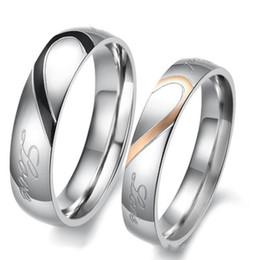 Valentines baratos on-line-Anel de casamento Casal Anéis de Aço Inoxidável Em Forma de Coração Jigsaw Puzzle Valentine Presente para Mulheres Dos Homens EUA Tamanho 5-15 Baratos Por Atacado