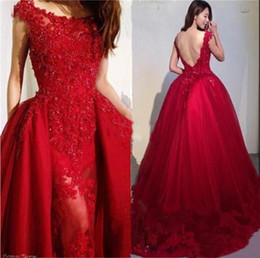 Wine Red Beading Appliques Tulle Overskirt Evening Dresses 2019 Modest Scoop  Neck Lace Formal Evening Gowns Backless Mermaid Prom Dress Long d8751b588e2f