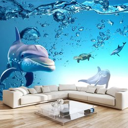 Quarto dos miúdos do oceano on-line-Foto Personalizado Blue Ocean 3D Dolphin Waterproof Canvas Wall Interior Pintura Mural Wallpaper Para Kids Room Living Room Bedroom