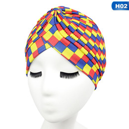 bbc6b950f5d Women Lace Up Indian Turban Hats Female Printing Cancer Chemo Hat Beanie  Scarf Turban Head Wrap Cap Gorras Mujer