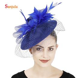 2019 borrachas de plástico para telefone Royal Blue linho chapéus com penas cara Veil Mulheres elegantes do partido Headwear Fascinatior nupcial do casamento Cabelo Acessórios H392