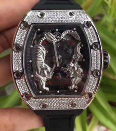 черные часы с бриллиантами Скидка Мужская люксовый бренд часы черный резина нержавеющая алмазный безель Тигр Дракон лицо водонепроницаемые повседневная мужчины античный наручные часы лучший подарок