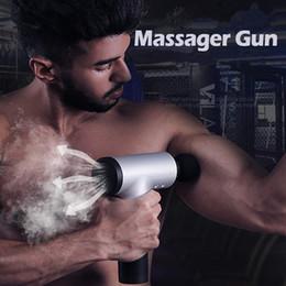 использованные чулки Скидка Массажер Gun, Ручной Аккумуляторный мощный мышц Глубокой платной ткань Массажер Пистолеты для спортсмена восстановление мышц