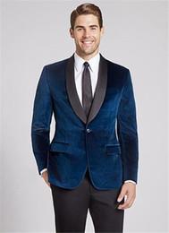 moderne hochzeitsanzüge blau Rabatt Moderne Navy Blue Velvet-Schal-Revers-Mann-Klage 2019 Neueste Mantel Hose Designs Formal Slim Fit Hochzeit Kleidung Bräutigam Mann Anzüge