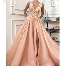 2019 sexy rose une ligne côté fendue robe de bal cou v profond 3d fleur perle robes de soirée en drapé drapé train robes de cocktail ? partir de fabricateur