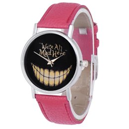 2019 relógios de pulso moda feminina Moda Unisex Mulheres Homens Relógio de Lazer PU Pulseira De Couro Analógico Rosto Sorridente Relógio De Pulso de Quartzo Relógio de Presente Kol Saati # S desconto relógios de pulso moda feminina
