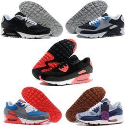 Fusíveis de prata on-line-Nike air max 90 2018 HY PRM QS 90 Homens Mulheres Running Shoes 90 s HyperS fusível Bandeira Americana Preto Branco Azul Marinho Prata Ouro Esporte Formadores