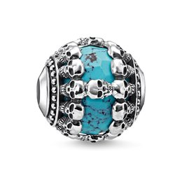 blaue stein silberne schmucksachen Rabatt Blau Stein Schädel Karma Perlen Silber Mode DIY Machen Skeleton Schmuck Zubehör Fit Armbänder Halsketten Kette