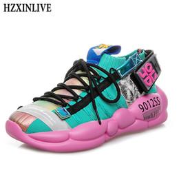 Calzini piatti morbidi online-HZXINLIVE 2019 nuove sneakers donna sneakers bianche robuste calzino scarpe casual appartamenti traspiranti morbide scarpe luminose Zapatos De Mujer
