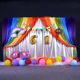 wedding backdrops black white Coupons - 3m*6m Wedding Backdrop with Rainbow Swags Backcloth Party Curtain Celebration Stage Curtain Performance Background wall