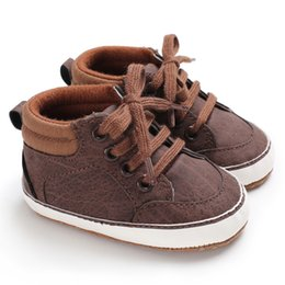 High heel canvas sneaker online-Neugeborenes Baby High Heel Schuhe Säuglings erste Wanderer Tollder Canvas Schuhe Lace-up Baby Mädchen Sneaker Prewalker 0-12 Mt B