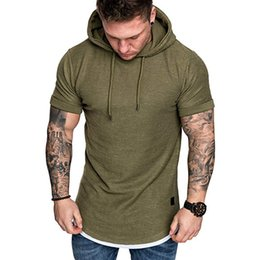 Deutschland Männer T-Shirt Sommer T-Shirts Tops mit Kapuze Slim Fit Casual T-Shirt Mann hohe Qualität d90405 supplier hooded t shirts for men Versorgung
