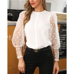 tops feriado senhoras Desconto Mulheres Moda Casual Tops férias Ladies Baggy shirt blusa solta luva Lantern Ploka Dot Chiffon elegante fêmea blusas Roupas