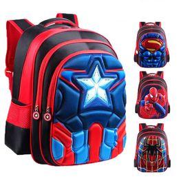 Bolsa da escola superman on-line-Mochilas 3D Superman Batman Spiderman Capitão América Menino Menina Crianças do Jardim de Infância Saco de Escola Adolescente Mochilas Crianças Mochilas Estudante