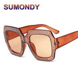 ce658ac1ffe34 SUMONDY Women Square Luxury Sunglasses Fashion Oversized Unique Rhinestone  Frame Sun Glasses Female Large Size Eyeglasses SU15