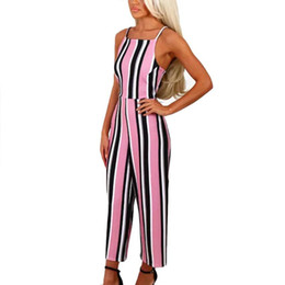 2c5c7693b21a NEW Striped Printed One Piece Outfits Women Summer Long Jumpsuits Ladies  Sexy Sleeveless Casual Playsuit Rompers Trousers  Zer