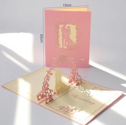 Convite 3d on-line-Cartão de convite de casamento estilo europeu doce noivado criativo 3D escavar festa convida cartão para o casamento romântico