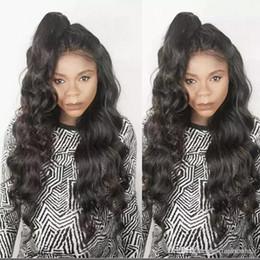 cabello humano barato coletas de caballo Rebajas Peluca llena del cordón del pelo humano de las pelucas del pelo humano de la onda del cuerpo de la onda del cuerpo de la onda de Malasia del cordón de la onda del cuerpo del cordón para las mujeres negras