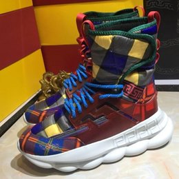 Mens High Top Reaction Sneaker 2 Chainz Sneakers Moda Donna Stivali Trainer Scarpe casual di lusso con scatola 8dxa cheap mens chain boots da stivali mens catena fornitori