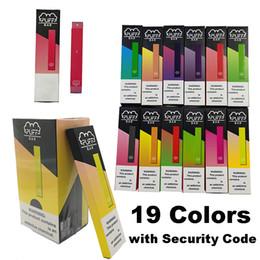 Batteria monouso e cig online-Puff Bar monouso Vape penna 19 colori Pod Starter Kit 280mAh Batteria 1.3ml Capacità Puff misure vuote Imballaggio con codice di sicurezza vaporizzatore