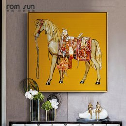 painting horses modern art Promo Codes - Nordic Style Canvas Painting Horse King Art Wall Pictures For Living Room Home Decor Posters And Prints Modern HD Square Picture